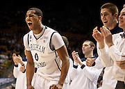 BYU forward Brandon Davies (0) gets fired up after a basket during the second half of the NCAA basketball game between the BYU Cougars and the Eastern New Mexico Greyhounds at the Marriott Center, Tuesday, Dec. 18, 2012.