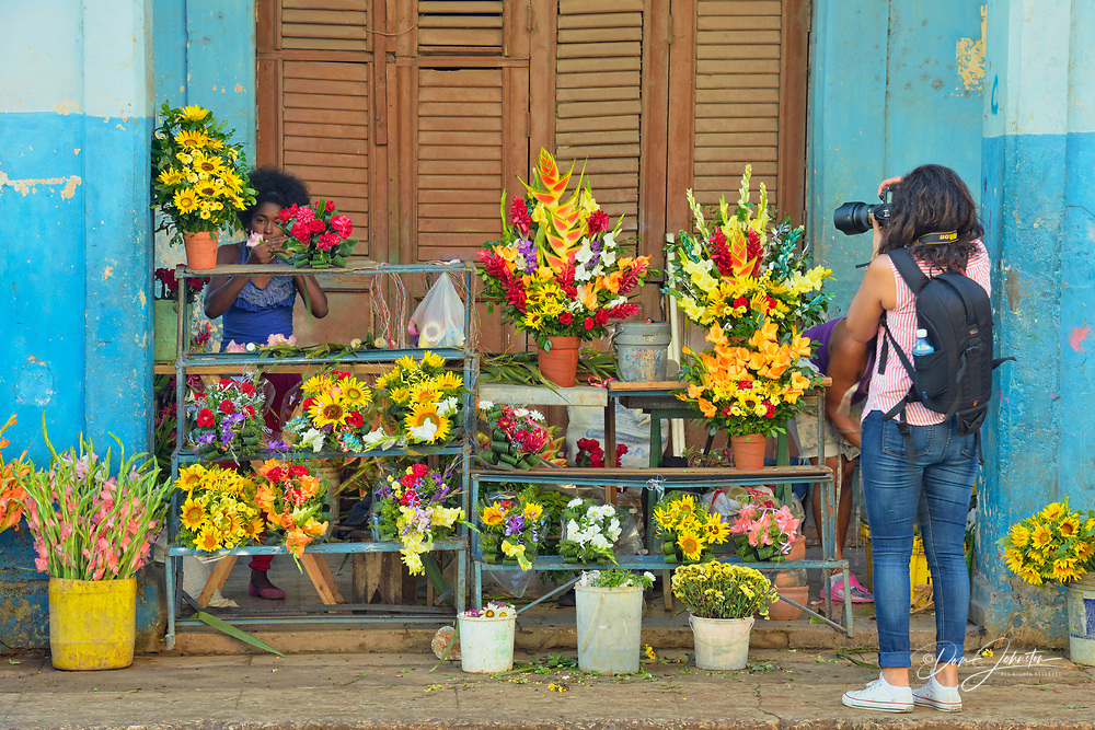 Street photogrophy in Old Havana- The Flower market and flower sellers, La Habana (Havana), Habana, Cuba