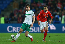 November 12, 2017 - Basel, Switzerland - FIFA World Cup Qualifiers play-off Switzerland v Northern Ireland.Patrick McNair of Northern Ireland and Admir Mehmedi of Switzerland at St. Jakob-Park in Basel, Switzerland on November 12, 2017. (Credit Image: © Matteo Ciambelli/NurPhoto via ZUMA Press)