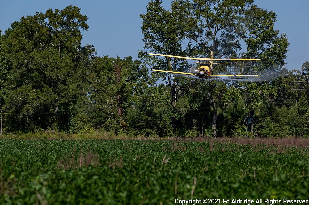 Crop duster spraying fields in rural South Carolina in a bi-plane. Image taken by Ed Aldridge with a NIKON Z 6_2 and NIKKOR Z 70-200mm f/2.8 VR S at 200mm, ISO 50, f5.6, 1/400.