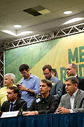 Far right Brazilian election candidate Jair Bolsonaro holds a press conference after several weeks in hospital at the Windsor Hotel, Barra on 11th October 2018 in Rio de Janeiro, Brazil. The same day he said he could not make the televised debate with rival Haddad, he called a press conference and public act.