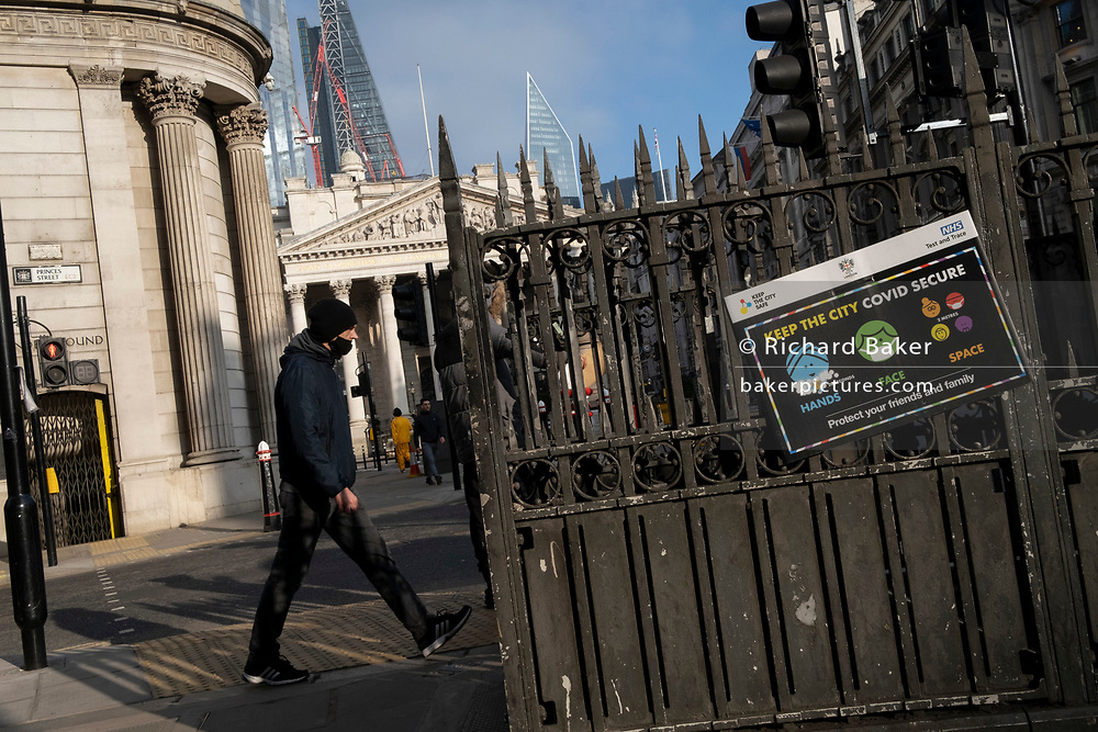 Days before the Chancellor Rishi Sunak delivers his Budget, a government and NHS (National Health Service) notice urges the public to stay Covid secure during a high infection rate in the capital, during the third English lockdown of the Coronavirus pandemic, 1st March 2021, in London, England.