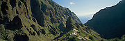 SPAIN, CANARY ISLANDS Tenerife; deep gorges along rugged northwest coast above village of Masca