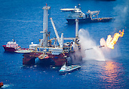 6/26/2010  The Transocean Discoverer Enterprise drillship as it burns off gas collected at the BP Deepwater Horizon well that is gushing oil into the Gulf of Mexico at the site of the BP oil spill.