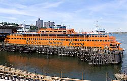 THEMENBILD - Eine der bekanntesten und beliebtesten Touristenattraktionen in New York ist die Staten Island Ferry, die zwischen der Suedspitze Manhattans und Staten Island pendelt, im Bild eine der Faehren, Aufgenommen am 09. August 2016 // One of the best-known and most popular tourist attractions is the Staten Island Ferry, which runs between Manhattan and Staten Island. This picture shows one of the ferrys, New York City, United States on 2016/08/09. EXPA Pictures © 2016, PhotoCredit: EXPA/ Sebastian Pucher