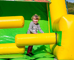 Pictured: Lacey at the Labyrinth Inflatable Course. Dalkeith Country Park, Midlothian, 04 May 2019. The Labyrinth Challenge is the World's longest, continuous, widest inflatable obstacle course with a series of interactive and wacky obstacles with five  themed zone, and measures over 1000ft in length.<br /> Sally Anderson | EdinburghElitemedia.co.uk