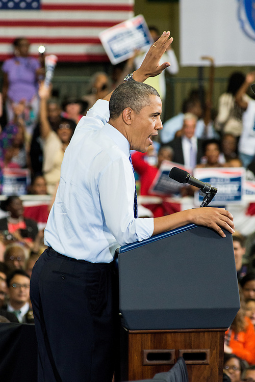 President Obama addresses the crowd at the Reggie Lewis Center in Roxbury, MA.