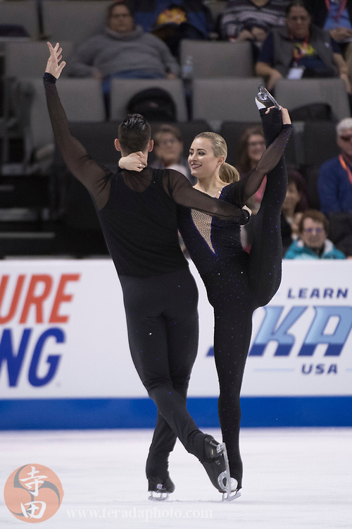 January 4, 2018; San Jose, CA, USA; Ashley Cain and Timothy LeDuc perform in the pairs short program during the 2018 U.S. Figure Skating Championships at SAP Center.