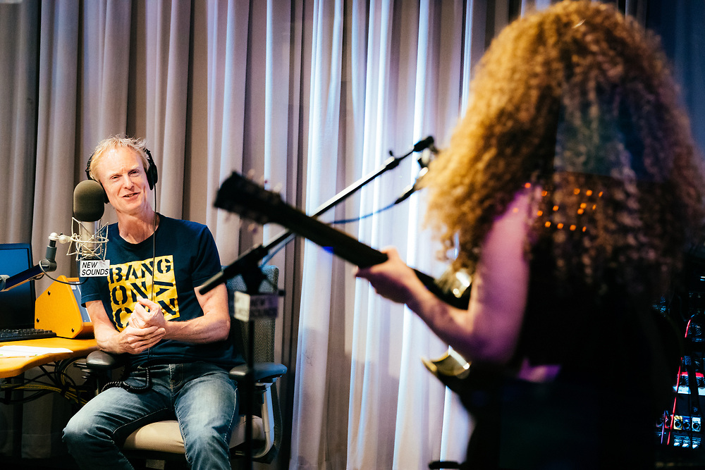 NEW YORK, NY/US - JUNE 03, 2019: Host John Schaefer speaks with a guest on New Sounds at WNYC Studios in Manhattan. PHOTO CREDIT: Eric M. Townsend