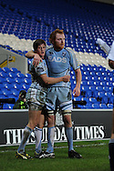 Lloyd Williams of Cardiff Blues (l) celebrates his try with capt Paul Tito ®. Heineken cup rugby, pool 2, Cardiff Blues v London Irish at the Cardiff city Stadium in Cardiff, South Wales on Friday 18th Nov2011. pic by Andrew Orchard, Andrew Orchard sports photography,