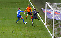 Hull City's Tom Eaves scores the opening goal past Gillingham's Jack Bonham<br /> <br /> Photographer Alex Dodd/CameraSport<br /> <br /> The EFL Sky Bet League One - Hull City v Gillingham - Saturday 27th March 2021 - KCOM Stadium - Kingston upon Hull<br /> <br /> World Copyright © 2021 CameraSport. All rights reserved. 43 Linden Ave. Countesthorpe. Leicester. England. LE8 5PG - Tel: +44 (0) 116 277 4147 - admin@camerasport.com - www.camerasport.com