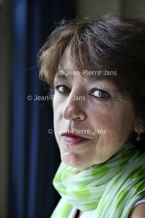 Nederland, Amsterdam , 6 september 2013.<br /> De Vlaamse schrijfster Lieve Joris.<br /> Foto:Jean-Pierre Jans
