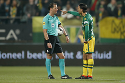(L-R) referee Danny Makkelie, Abdenasser El Khayati of ADO Den Haag during the Dutch Eredivisie match between ADO Den Haag and NAC Breda at Cars Jeans stadium on March 10, 2018 in The Hague, The Netherlands