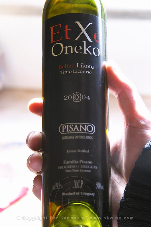 Gabriel Pisano, son of Eduardo Pisano. holding a bottle of EtXe Oneko Beltza Likore Tinto Licoroso 2004, his own creation, a sweet red wine similar to for example port wine. Bodega Pisano Winery, Progreso, Uruguay, South America