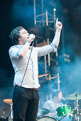 Ed Macfarlane lead vocalist with Friendly Fires, perform on the main stage..Rockness, Friday 11th June..Pic ©2010 Michael Schofield. All Rights Reserved.
