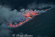 Aerial view of lava ocean entry at Ahalanui, Puna District, Hawaii Island ( the Big Island ), Hawaiian Islands, U.S.A., where the lava river from Fissure 8 of the Kilauea Volcano meets the Pacific Ocean