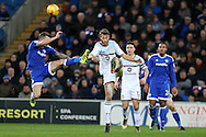 Joe Ralls of Cardiff city (l) goes high in a challenge against Nathan Baker of Aston Villa ®. EFL Skybet championship match, Cardiff city v Aston Villa at the Cardiff City Stadium in Cardiff, South Wales on Monday 2nd January 2017.<br /> pic by Andrew Orchard, Andrew Orchard sports photography.