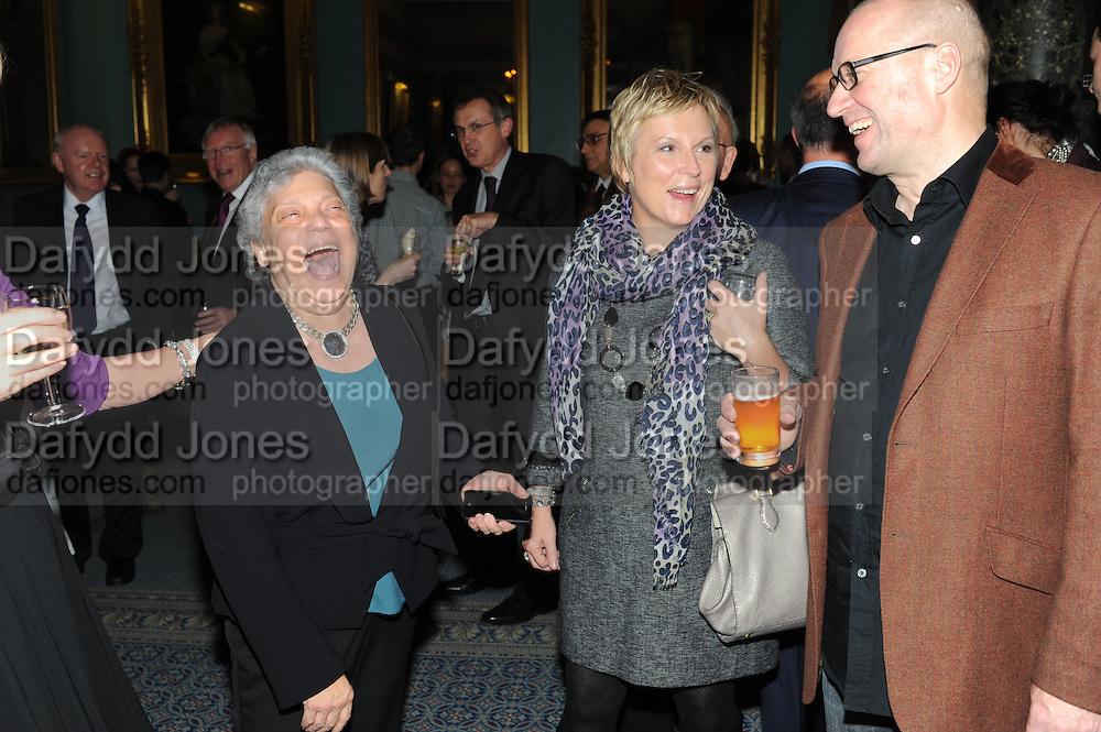 BOBBY GOLDMAN; JENNIFER SAUNDERS; ADRIAN EDMONSON, Party following the Theatre Royal press night performance of The Lion in Winter , The Institute of Directors. London. 15 November 2011. <br /> <br />  , -DO NOT ARCHIVE-© Copyright Photograph by Dafydd Jones. 248 Clapham Rd. London SW9 0PZ. Tel 0207 820 0771. www.dafjones.com.