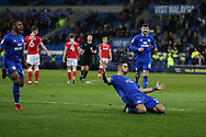 Marko Grujic of Cardiff city © celebrates with his teammates after he scores his teams 2nd goal. EFL Skybet championship match, Cardiff city v Barnsley at the Cardiff city stadium in Cardiff, South Wales on Tuesday 6th March 2018.
