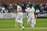 Wicket - Josh Davey of Somerset celebrates taking the wicket of Brett D'Oliveira of Worcestershire during the Specsavers County Champ Div 1 match between Somerset County Cricket Club and Worcestershire County Cricket Club at the Cooper Associates County Ground, Taunton, United Kingdom on 22 April 2018. Picture by Graham Hunt.