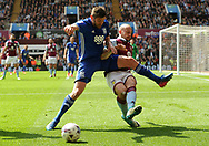 Alan Hutton of Aston Villa battles with Lukas Jutkiewicz of Birmingham city (l). EFL Skybet championship match, Aston Villa v Birmingham city at Villa Park in Birmingham, The Midlands on Sunday 23rd April 2017.<br /> pic by Bradley Collyer, Andrew Orchard sports photography.