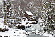 67395-04302 Glade Creek Grist Mill in winter, Babcock State Park, WV