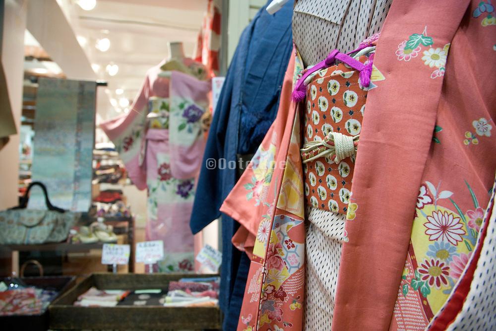 window display with traditional Kimono clothing Japan Nara