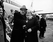 American comedian and actor Phil Silvers, most famous for his role as  'Sergeant Bilko' in the TV series, checks out the pockets of Joe Kearns, Manager of the Gaiety Theatre, on his arrival in Dublin to star in 'A Funny Thing Happened To Me on the Way to the Forum'.<br />