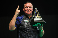 Glen Durrant wins the 2020 Unite Premier League during the Unibet Premier League Play-Offs at the Ricoh Arena, Coventry, England on 15 October 2020.
