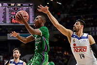 Real Madrid's Gustavo Ayon and Unicaja Malaga's Jamar Smith during semi finals of playoff Liga Endesa match between Real Madrid and Unicaja Malaga at Wizink Center in Madrid, May 31, 2017. Spain.<br /> (ALTERPHOTOS/BorjaB.Hojas)