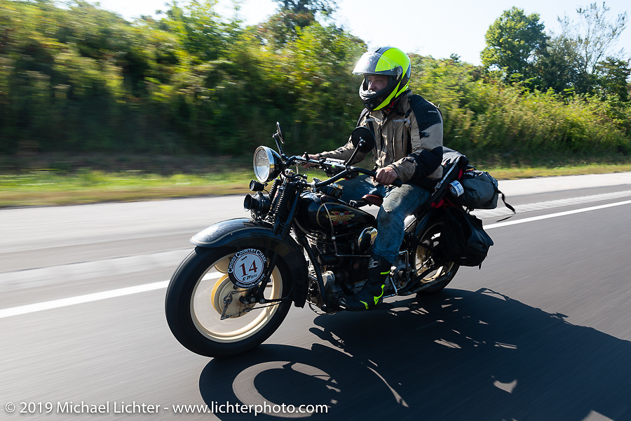 Loring Hill riding a Henderson Motorcycle during the Cross Country Chase motorcycle endurance run from Sault Sainte Marie, MI to Key West, FL (for vintage bikes from 1930-1948). Stage 4 saw a 315 mile ride from Urbana, IL to Bowling Green, KY USA. Monday, September 9, 2019. Photography ©2019 Michael Lichter.