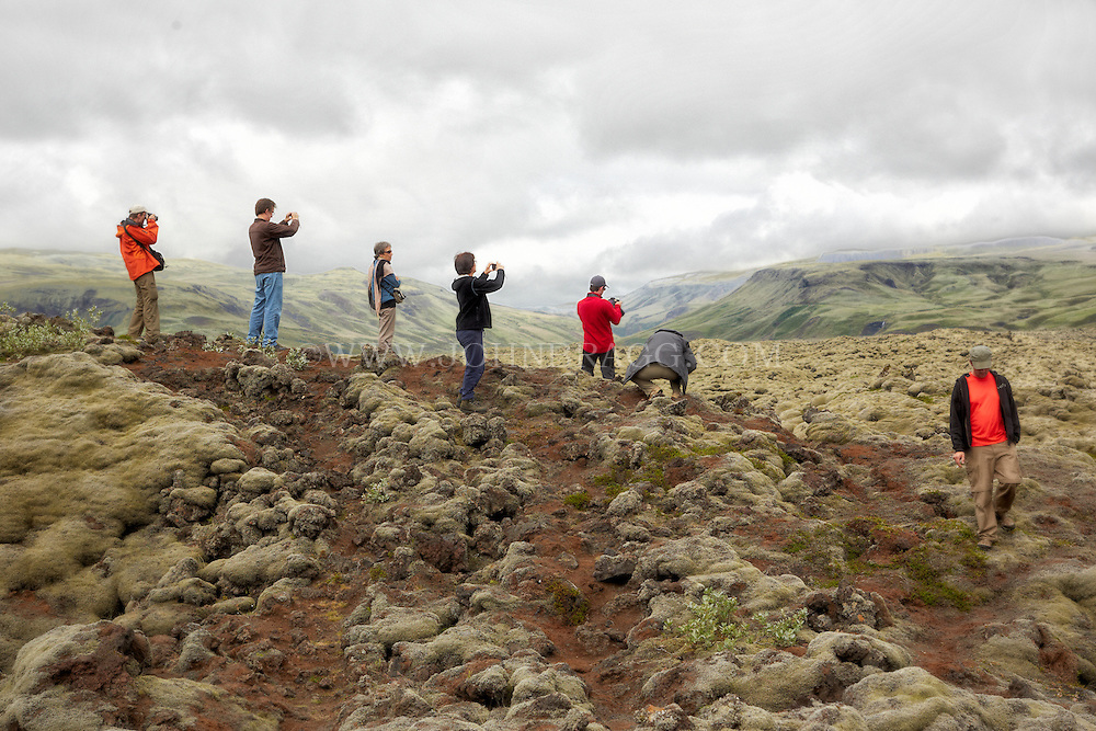 Travelers have stopped to photograph the lava fields off the side of The Ring Road in Southern, Iceland.