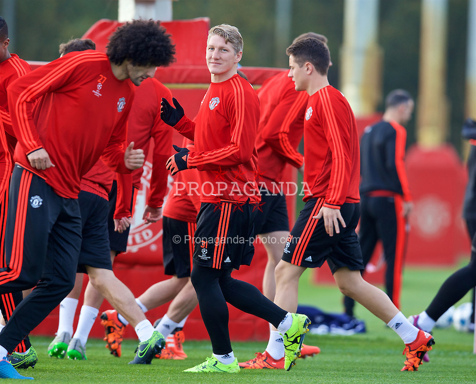 MANCHESTER, ENGLAND - Tuesday, October 20, 2015: Manchester United's Bastian Schweinsteiger during a training session at Carrington ahead of the UEFA Champions League Group B match against CSKA Moskva. (Pic by David Rawcliffe/Propaganda)