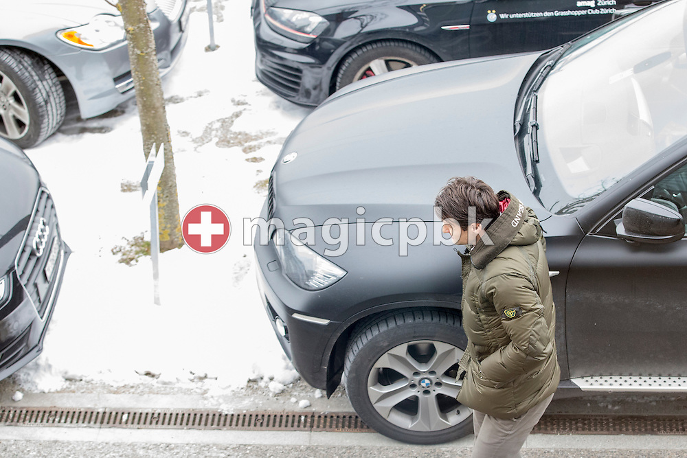 Midfielder Veroljub Salatic of Super League (National League A) soccer team Grasshopper Club Zuerich (GCZ) arrives for a physical therapy session held at the GC Campus in Niederhalsi, Switzerland, Friday, Feb. 6, 2015. (Photo by Patrick B. Kraemer / MAGICPBK)