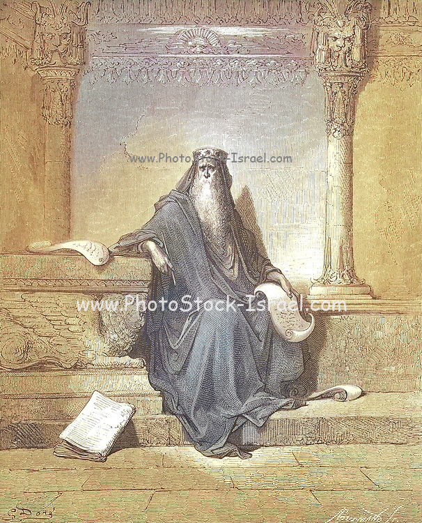 Machine Colourized (AI) King Solomon in Old Age 2 Chronicles 1:10 From the book 'Bible Gallery' Illustrated by Gustave Dore with Memoir of Dore and Descriptive Letter-press by Talbot W. Chambers D.D. Published by Cassell & Company Limited in London and simultaneously by Mame in Tours, France in 1866