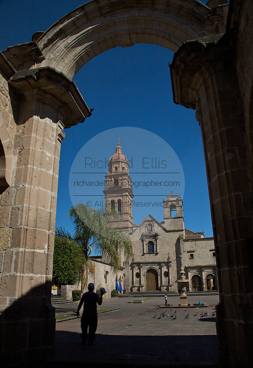 View of the Templo y Ex-Convento de San Augustin in Morelia, Mexico. The city is a UNESCO World Heritage Site and hosts on of the best preserved collection of Spanish Colonial architecture in the world.