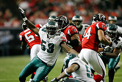 Philadelphia Eagles linebacker Moise Fokou #53 moves towards the Falcons ball carrier during the NFL game between the Philadelphia Eagles and the Atlanta Falcons on December 6th 2009. The Eagles won 34-7 at The Georgia Dome in Atlanta, Georgia. (Photo By Brian Garfinkel)