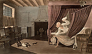 Dr Syntax Loses his Wig.  Rats eating the Doctor's wig while he is in a four-poster bed with tester (canopy) and curtains. Thomas Rowlandson illustration for 'The Tours of Dr Syntax' by William Combe (London, 1820). Aquatint.