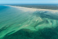 Aerial view of Seagrass beds and sandspits along the coastline, Quirimbas, Mozambique