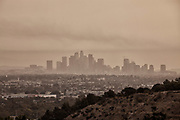 In early September 2020, Los Angeles was blanketed each day with smoke and ash from nearby wildfires. Downtown Los Angeles from Baldwin Hills Scenic Overlook. California, USA