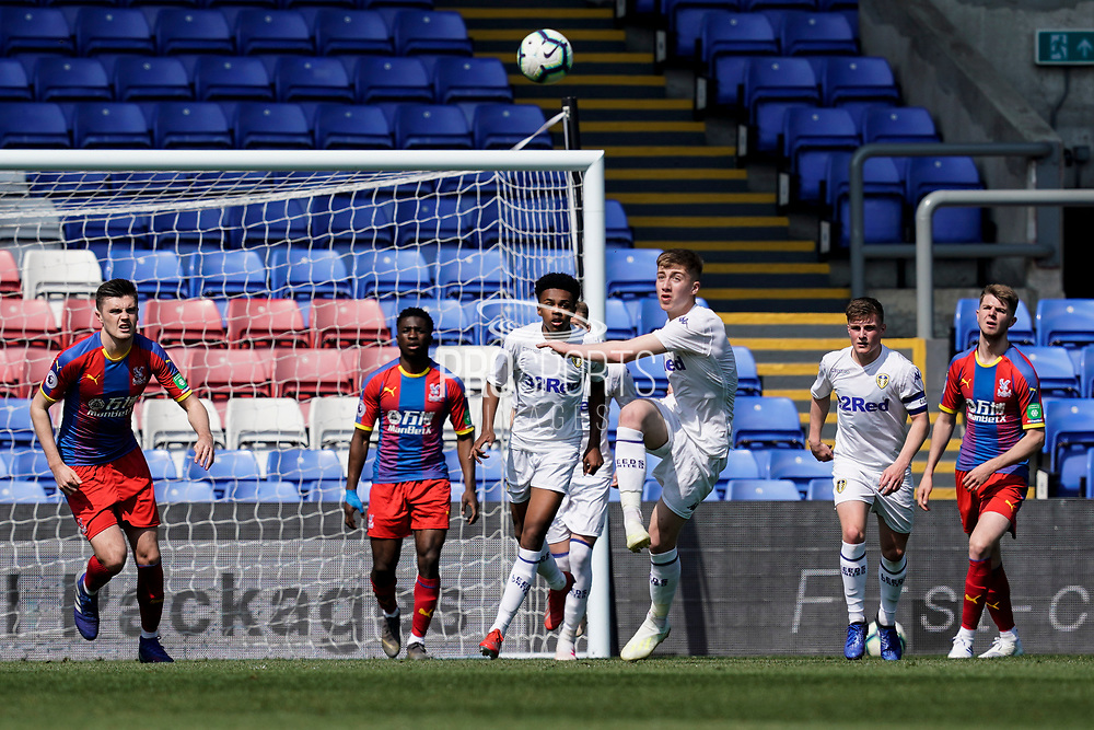 Jack Clarke of Leeds United U23 clears the ball during the U23 Professional Development League match between U23 Crystal Palace and Leeds United at Selhurst Park, London, England on 15 April 2019.