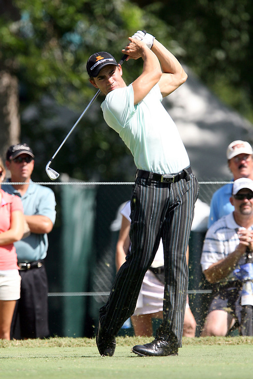 09 August 2007: Camilo Villegas tees off on the 4th hole during the first round of the 89th PGA Championship at Southern Hills Country Club in Tulsa, OK.