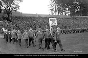 The Laune Rangers Kerry team of 1892 winners of the first All-Ireland pictured on parade at Fitzgerald Stadium, Killarney before the 1936 All-Ireland Football final.<br /> Photo by Daniel MacMonagle<br /> <br /> from the MacMonagle, Killarney photo archive<br /> www.macmonagle.com