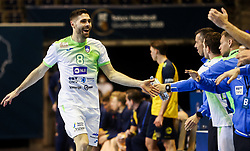 Blaz Janc of Slovenia reacts during handball match between National Teams of Sweden and Slovenia at Day 3 of IHF Men's Tokyo Olympic  Qualification tournament, on March 14, 2021 in Max-Schmeling-Halle, Berlin, Germany. Photo by Vid Ponikvar / Sportida