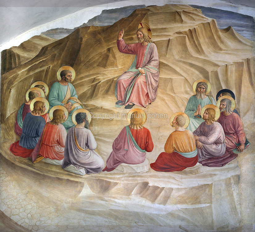The Sermon on the Mount, Renaissance fresco by Fra Angelico, born Guido di Pietro, c. 1395-1455, and followers, painted 1438-46 on the wall of Cell 32 in the North wing of the Dominican Convent of St Mark, now the Museo di San Marco, Florence, Tuscany, Italy. Fra Angelico painted over 40 frescoes on the walls of the convent. Jesus is depicted seated amongst the 12 apostles, preaching a sermon on how to live in righteousness, including his interpretation of the Ten Commandments and other elements from the Old Testament. Picture by Manuel Cohen