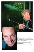 Paidi OSeswimming with the sharks in Dingle Oceanworld..Picture by Don MacMonagle