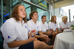 Nika Karlina Petric and Jan Karel Petric at press conference of Slovenian swimmers before World Championships in Rome, on July 23 2009, in Kranj, Slovenia. (Photo by Vid Ponikvar / Sportida)