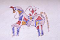 Inde - Rajasthan - Village dans la région de Tonk - Peinture murale - Cheval