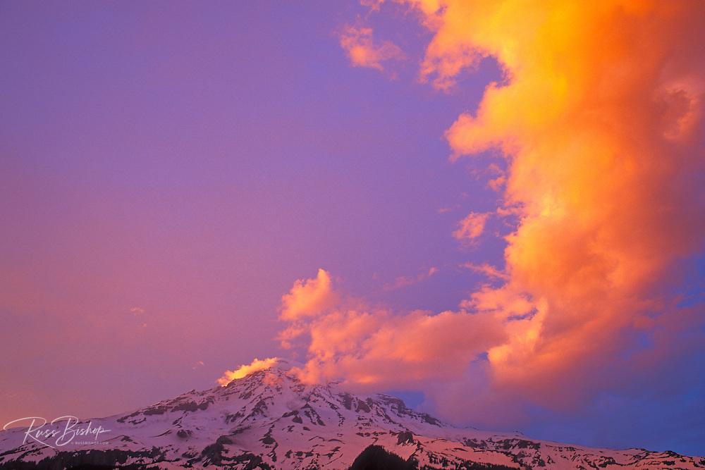 Evening light on clouds over Mount Rainier, Mount Rainier National Park, Washington