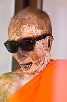 Mummified Monk,  Wat Khanaram (Buddhist temple), Koh Samui (island), Gulf of Thailand, Thailand